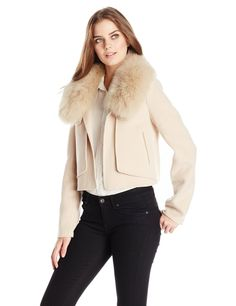 HALSTON HERITAGE Women's Wool Blend Jacket with Fur Collar, Stone Grey
