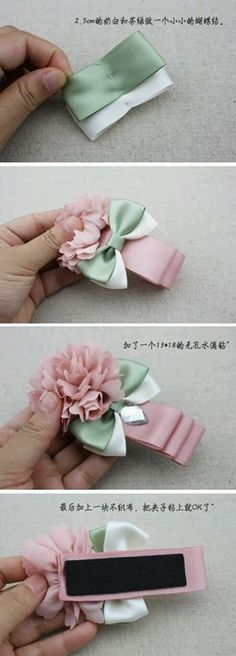 Handmade flowers with button centers. Could use a thin ponytail holder and just loop it through the shank. - Salvabrani