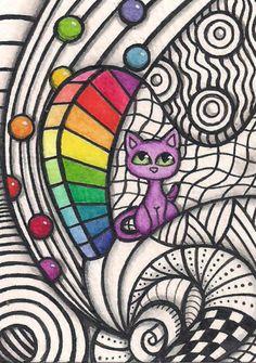 ACEO-Zentangle-With-Small-Purple-Cat-Original-Art