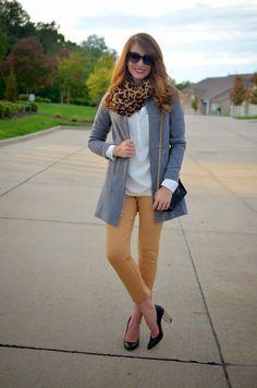 White button up shirt, leopard scarf, grey cardigan or blazer, mustard skinnies, black heels