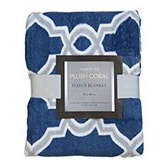 Amazon.com: Printed Plush Fleece Throw Blanket: 50in x 60in (Navy Blue-Gray-White – Geometric): Home & Kitchen