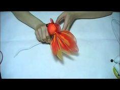 Handmade nylon product Set of materials Gold fish 3 Animals 15cm x 10cm XS038