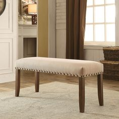 Furniture of America Felicity Ivory Flax Upholstered Dining Bench