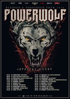 "HARD N' HEAVY NEWS: POWERWOLF - ANNOUNCES NEW ""BLESSED & POSSESSED TOUR 2016"" TOUR DATES"