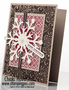 Teeny Tiny Wishes stamp set;  Early Espresso and Cherry Cobbler markers; Early Expressions Coredinations Cardstock, Festival of Prints DSP; Very Vanilla and Crumb Cake cardstocks; Snow Flurry Bigz die; Dazzling Diamonds glitter;  Jumbo Pearls; Early Espresso stitched ribbon.
