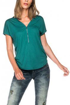 Salsa Store - T-shirt col en V avec fermeture éclair