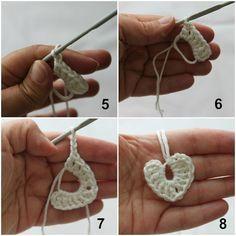 Pano pra Mangas: Tutorial: Tiny crochet hearts  ☀CQ #crochet #hearts #crafts #DIY.  Thank you for sharing! ¯\_(ツ)_/¯