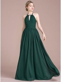 A-Line/Princess Scoop Neck Floor-Length Ruffle Zipper Up Spaghetti Straps Sleeveless No Dark Green Spring Summer Fall Winter General Plus Chiffon US 2 / UK 6 / EU 32 Bridesmaid Dress Trendy Dresses, Elegant Dresses, Beautiful Dresses, Nice Dresses, Fashion Dresses, Casual Dresses, Wedding Bridesmaid Dresses, Wedding Party Dresses, Wedding Shoes