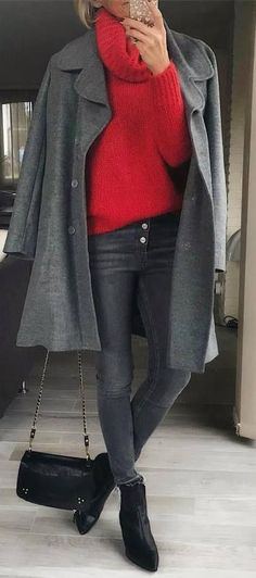 winter outfit idea : red sweater + grey coat + bag + skinny jeans + boots