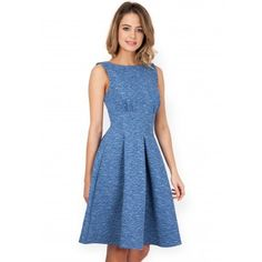 Made from a textured denim fabric embellished with florals, this girly dress would go perfectly with a hot Summer's day. The thick waistband cinches in the waist and lengths the torso, with gathering detail around that bust that would flatter any size. For a cute daytime look wear yours with white pumps to make the skater skirt look even cuter.