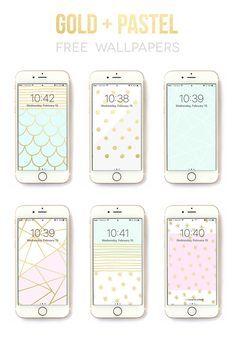6 free iphone wallpaper designs by Rachel Hinderliter @linesacross - gold and pastel