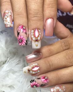 97 Bright Ideas Of Gel Nails For Summer In 2019 - Page 34 of 97 - PinningFashionPinningFashion Tulip Nails, Flower Nails, Fun Nails, Pretty Nails, Gel Nail Art, Nail Polish, Mobile Nails, Flower Nail Designs, Nail Art Galleries