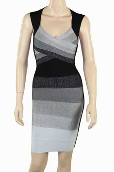 351056621ea4 Herve Leger Ombre Gray Sleeveless Crossover Bandage Dress Plus Size Party  Dresses
