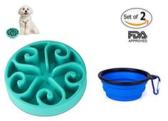COOLTECH® 11.8 inch Slow Feed Dog Bowl Interactive Bloat Stop Pet Bowl with Collapsible Travel Dog Bowl- FDA Approved -- To view further for this item, visit the image link.