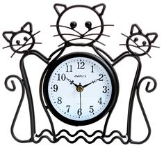Maple's Cat Silhouette Table Clock