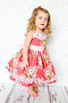 fairytale frocks and lollipops :: foofoo threads, the ruby sue dress, girl, baby, infant, toddler, girls dress, baby dress, toddler dress, sewing, vintage, round yoke, ruffle, advanced beginner, intermediate, sash, back bow, boutique, special occasion, bi