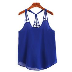 Knotted Racerback Cutout Cami Top - Royal Blue ($12) ❤ liked on Polyvore featuring tops, blue cami, royal blue top, cut out tank top, racerback camisole tank and cami tank