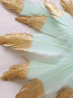 Mint Blue Gold Glitter tipped Mint Feathers Decorations for a tribal themed baby shower by JadeandJo