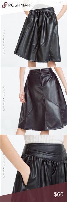 "Black leather skirt Black yoked PU leather skirt. Measurements: 14"" waist, 27"" length as seen in last photo. Zara Skirts"