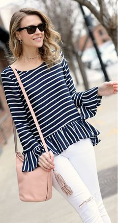 Peplum stripes top... | Street Fashion
