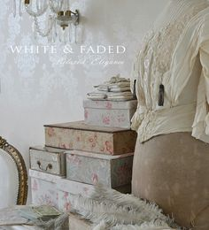 Home - White & Faded Fabric Covered Boxes, Fabric Boxes, Old Boxes, Antique Boxes, Definition Of White, French Fabric, Pretty Box, Paint Colors For Living Room, Vintage Box