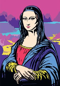 John Rielly was commissioned by Renault to illustrate a pop art version of the Mona Lisa for their Bd Pop Art, Pop Art Face, Arte Pop, Lisa Gherardini, Desenho Pop Art, Gravure Illustration, Pop Art Illustration, La Madone, Mona Lisa Parody