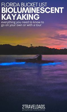 Bioluminescent kayaking in Florida is a bucket list thing to do. Mosquito Lagoon on Indian River is famous for glowing waters and night kayaking. Everything you need to know to go bioluminescent kayaking on your own or with guided tours. Visit Florida, Florida Vacation, Usa Travel, Travel Tips, Travel Ideas, Family Road Trips, Family Travel, Amazing Destinations, Travel Destinations