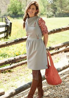 Gray Beeches Dress  This charming dove gray dress is perfectly accented with an exaggerated collar and lovely red buttons. The Gray Beeches Dress is incredibly versatile and can be layered over a printed top or under a soft cardigan. However you wear it, this is bound to become one of your favorite fall dresses. Item #: AD16162 $74.00
