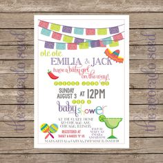 Ole Ole a Baby Girl is on the Way! Mexician Spanish Fiesta Baby Shower Invitations - Professional Prints or DIY Printing by TheAvocadoSeed on Etsy https://www.etsy.com/listing/196502102/ole-ole-a-baby-girl-is-on-the-way