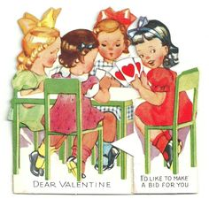 Vintage Valentine card * Four Cute Little Girls Playing Cards - hearts