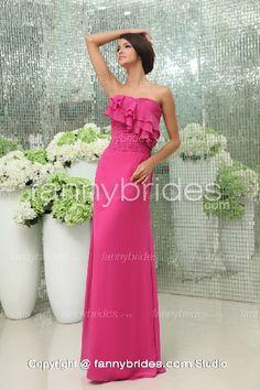 Beautiful Strapless Ruffles Fuchsia A-line Evening Gown - Fannybrides.com Blush Bridal, Bridal Gowns, Strapless Dress Formal, Formal Dresses, Wedding Dresses, Discount Prom Dresses, Chiffon Gown, Dress P, Half Sleeves