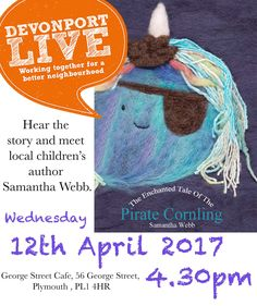 The next public reading of my children's book will be at Devonport Live in Plymouth xxx