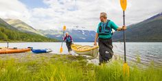 Kayak Alaska Lakes and sea coasts. Grab a paddle and explore Anchorage lakes, streams and nearby fjords by canoe or kayak.  Anchorage AK  #CanoeKayakAnchorageAK
