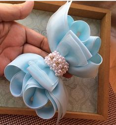 Pin by Sissybird Accessories on Hair Clips Ribbon Art, Diy Ribbon, Ribbon Crafts, Ribbon Bows, Fabric Bows, Fabric Flowers, Diy Flowers, Baby Hair Bows, Flower Girl Headbands
