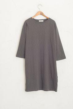 Simple Long Cotton Dress, Dark Grey