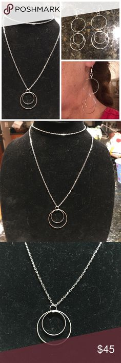 """Double circle earrings & necklace set or separate Simple double circles dangling on stainless steel 32"""" chain or any chain of choice. The circles are not fastened to eachother so the small one dangles inside the larger and moves with movement! See listing of all leather, silver & gold type chains. I have all different colors, designs and lengths! You can purchase the airings and necklace separately on this listing if you don't want the whole set. Fine N Fresh Jewelry Necklaces"""