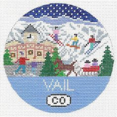 Hand Painted Needlepoint Ornament Vail by DoolittleStitchery