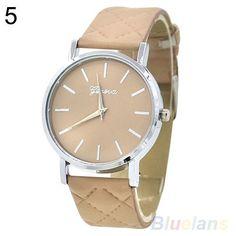 Men's Women's Geneva Checkers Faux Leather Strap Quartz Analog Wrist Watch 3C15