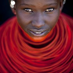 Samburu young girl with red neckalce - Kenya, Africa.