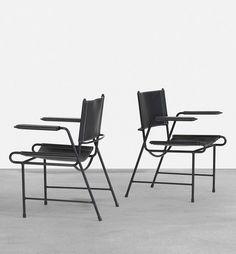 Mathieu Matégot; Enameled Steel and Leather Armchairs for Atelier Matégot, 1954.