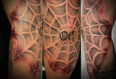 Spider Web Elbow Tattoo For Men