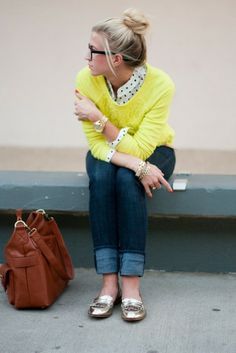 Love this look with the metallic flats!