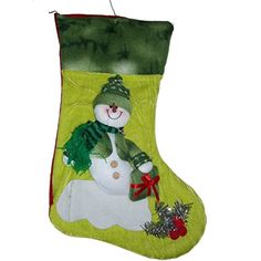 Bargain World Snowman Christmas Felt Embroidery Stocking Gift Bag Green *** More info could be found at the image url.