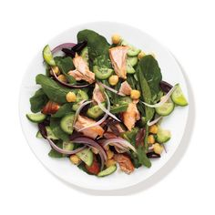 Salmon and Arugula Salad ❤ liked on Polyvore featuring food, fillers, food and drink, food & drink and edible