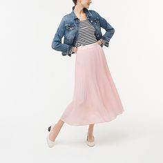 J.Crew Factory: Elastic-waist Pleated Midi Skirt For Women