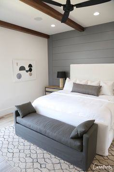 Master Bedroom Shiplap Feature Wall on Home Inteior Ideas 412 Bedroom Furniture Sets, Bedroom Sets, Home Decor Bedroom, Cozy Bedroom, Girls Bedroom, Furniture Stores, Bedding Sets, Bedroom Colors, Bedroom Brown