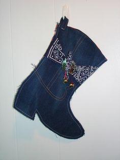 Denim Christmas Boot Stocking by QuiltsbyGrannyMassey on Etsy