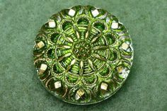 Czech Glass Button 23mm  hand painted  blossom by CzechBeadsShop