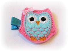 Girls Owl Felt Clip---