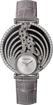 Montre Royale de Cartier 36 mm, or gris, cuir, diamants